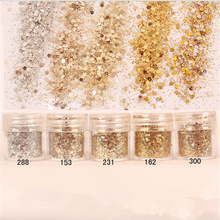 1 Box 10ml Mixed Size Nail Glitter Powder Mix Champagne Series Art Sequins Decorations