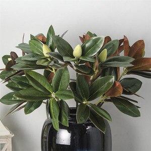 Image 2 - Flone 2 rama Magnolia artificial de ramo de simulación Real Touch Magnolia de planta de flor boda fiesta en casa decoración Floral