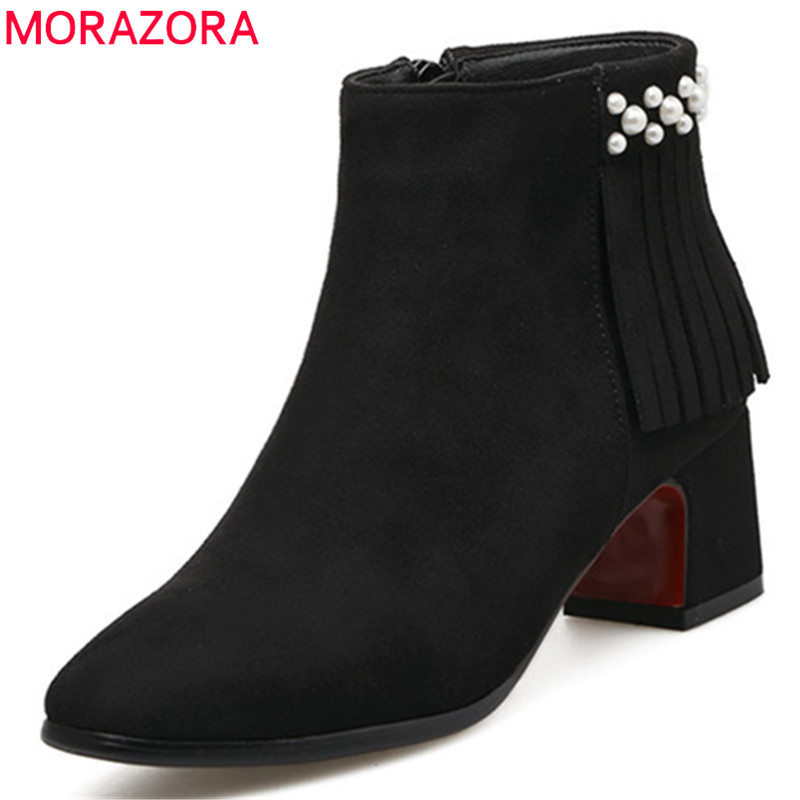 MORAZORA Elegant fashion shoes woman ankle boots for women high heels boots in spring autumn flock zip solid party size 34-43 morazora knee high boots woman fashion punk women shoes spring autumn boots pu solid zip med heels shoes big size 34 42