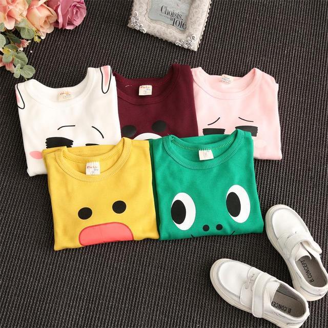 Conjuntos de roupas infantis cair 2016 nova impressão private label T-shirt gola redonda dos desenhos animados do velo frete grátis