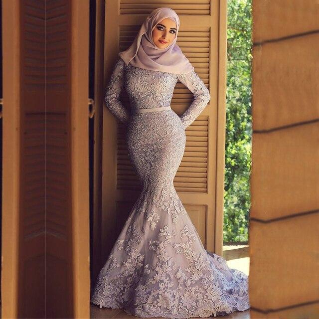 Vintage Renda Ungu Muslim Wedding Dresses Mermaid Beaded Lace Lengan