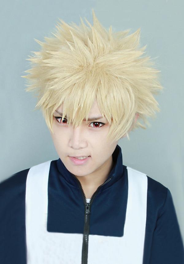 My Boku No Hero Academia Bakugou Katsuki Bakugo Short Linen Blonde Heat Resistant Cosplay Costume Wig