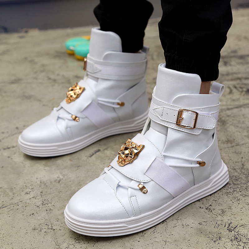 GZ Punk Rivet Metal Hip Hop Boots Men White Solid Dance Platform Flats Fashion Buckle High Top Zapatillas Hombre #39