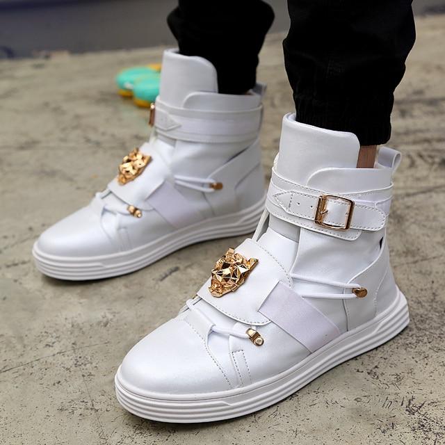 GZ с заклепками в стиле панк металл хип-хоп сапоги Для мужчин белые одноцветные танцевальные Туфли на плоской платформе модные пряжки Высокий Верх zapatillas hombre #39