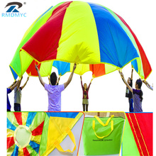 По нижнему краю; высший класс! 2 м, 3 м, 4 м, Детские уличные игрушки для спортивных игр, командные упражнения, радужная игрушка с парашютом, прыгающий мешок, игра с парашютом, 8 цветов