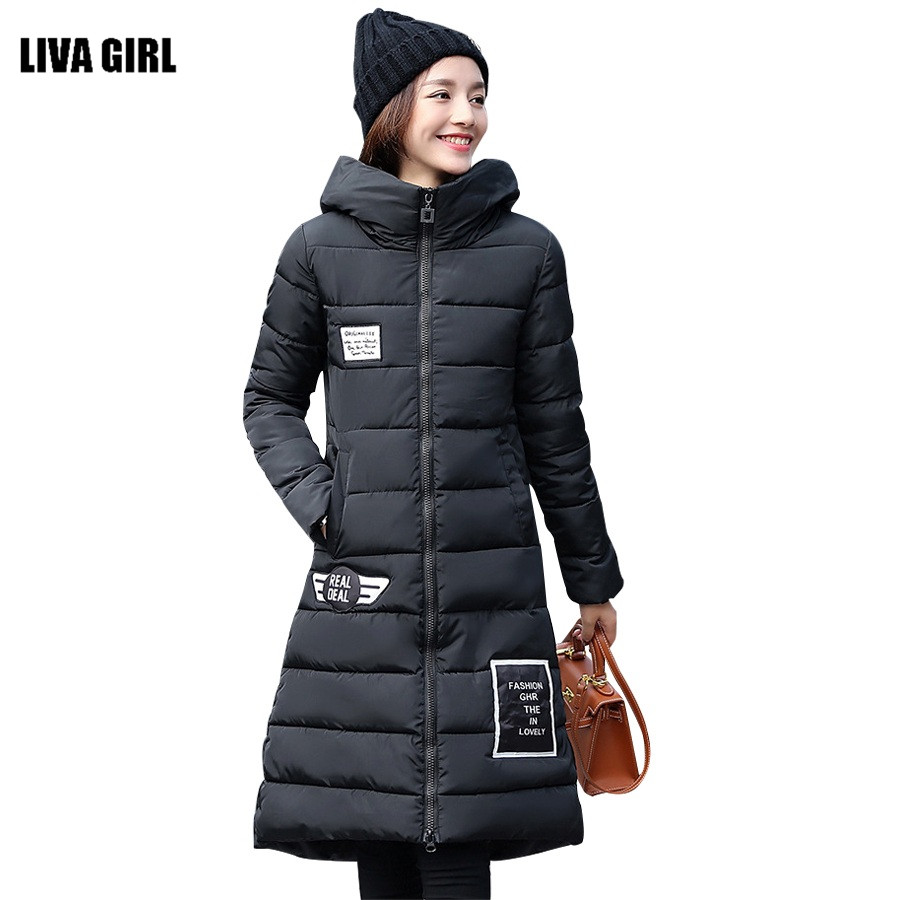 ФОТО New Fashion 2016 High Quality Warm Women Winter Wadded Jacket Long Women Coat Slim Thick Parka Female  Hooded Padded Overcoat