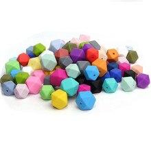 100st BPA Free Loose Silicone Hexagon Pärlor 17mm Mat Grade Silikon Tänder Pärlor För Baby Tänder Halsband Tugga Pärlor