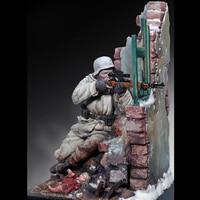 1:18 Resin Figure Soldier Model German Sniper with Scene Base 361