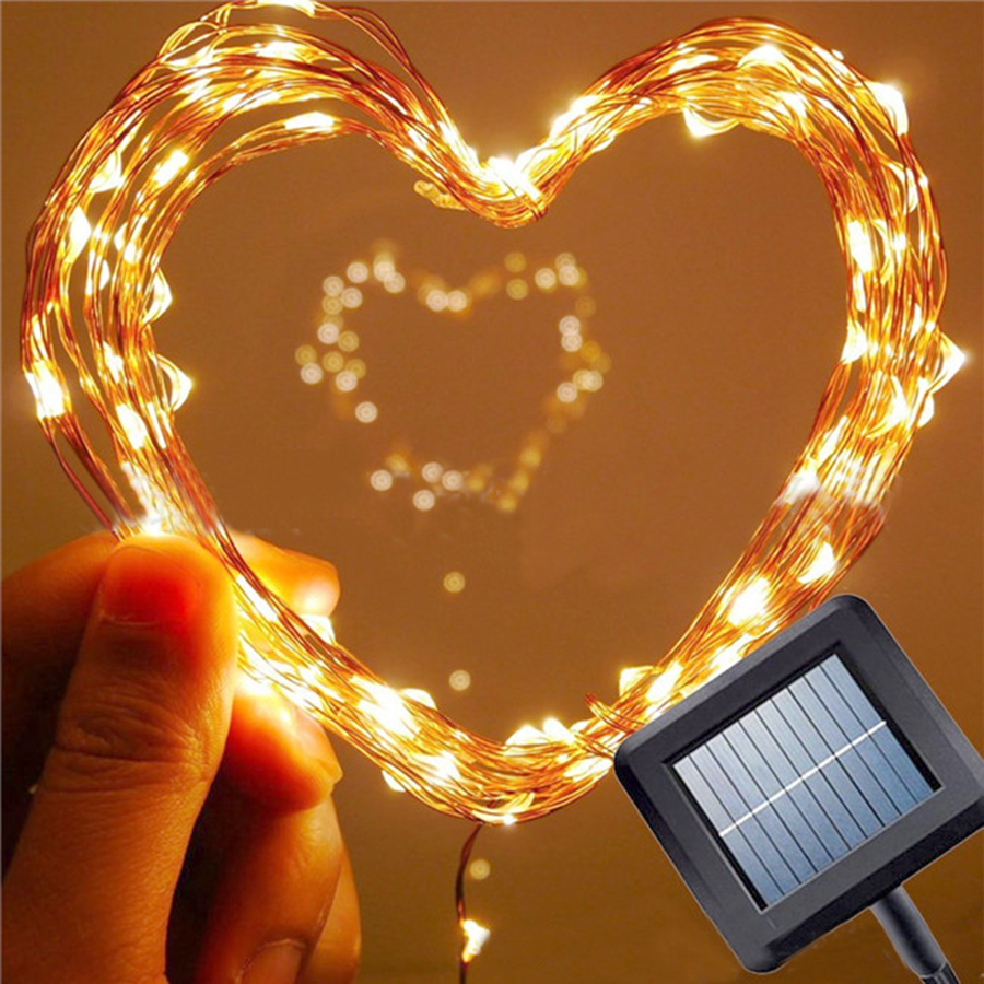 Hi-Lumix 10M 100Leds Solar Outdoor Garland Copper Wire String Light Waterproof Fairy String For Garden Wedding Christmas Party