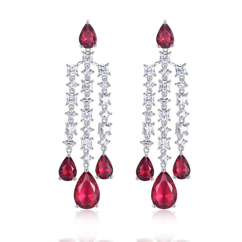 все цены на Luxurious AAA Cubic Zirconia Red/Blue Water Drop 925 Silver Dangle Drop Earrings For Women Engagement Wedding Party gift
