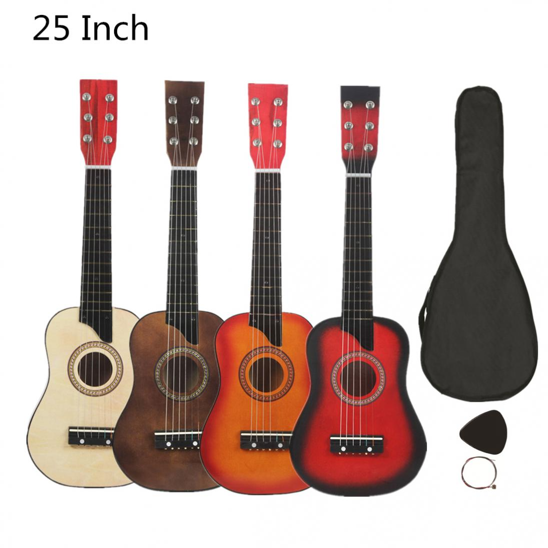 25 Inch Basswood Acoustic Guitar With Bag Pick Strings Gift For Children And Beginner Musical Instrument 4 Colors Optional