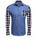 COOFANDY Homens Denim Camisa de Manga Comprida Xadrez Impressão Camisa Casual Para Homens Azul Escuro, azul, preto tamanho eua s/m/l/xl/xxl