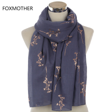 FOXMOTHER 2017 New Design Femal Black Grey Red Metallic Gold Foil Glitter Floral Shawls Wrap Scarf For Women