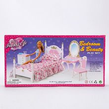 Princess case for Barbie doll accessories can be common furniture / bedroom bed wardrobe mirror / toy combination