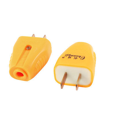 2 x Orange Plasctic 2 Pin US Power Cable Connector Electrical Plug AC 250V 16A 5pcs ac 250v 16a 2 pin us au power plug connector replacement