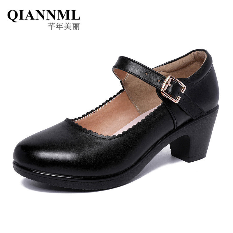 Big Size 33-43 Womans Shoes Square Heel Spring Fall 2019 Black White Silver Red Med Heels Pumps Women Office Shoe 41 42