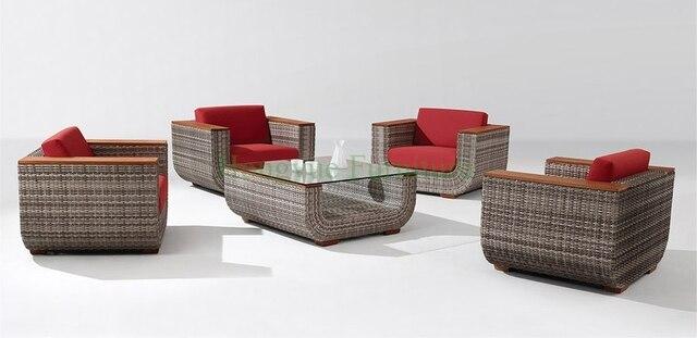 Muebles de salón sofá de ratán conjunto con apoyabrazos de madera de ...