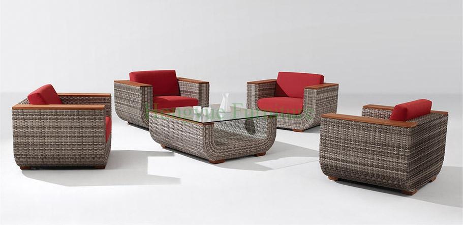 muebles de saln sof de ratn conjunto con apoyabrazos de madera de teca