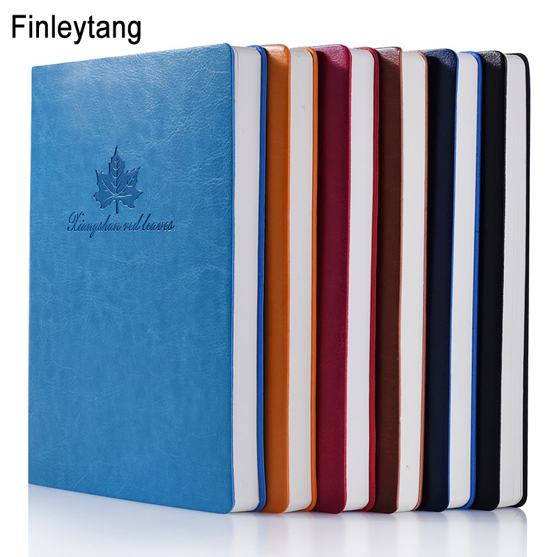 Simple Leaves Notebook A5 Leather Business Notepad Diary Six Color Optional Pattern Customization School Stationary Office Book