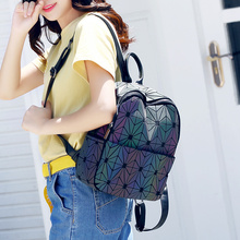 Новые рюкзак Серебристые Для женщин Мода Сумки лазерной решетки геометрический световой рюкзак для подростков Обувь для девочек школьная сумка