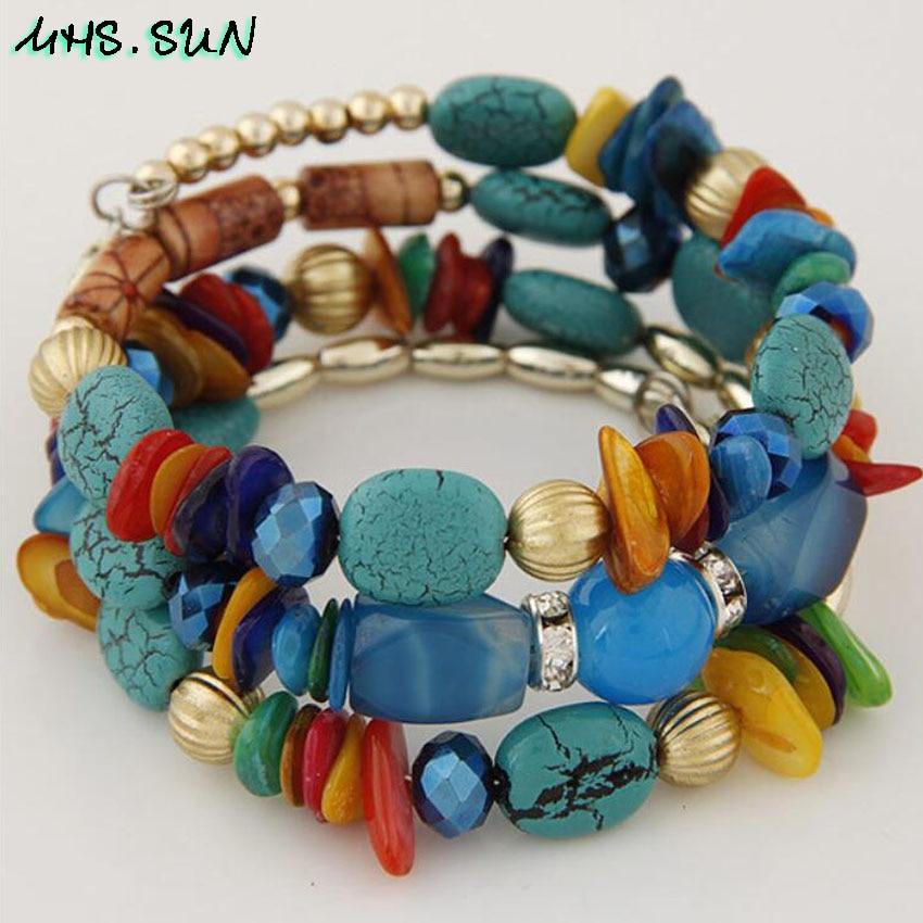 10,BX010,$2.2, Bohemian Women Layered Bracelets Fashion National Stone Beaded Shell Bracelets Charm Ethnic Jewelry Female Party Gift