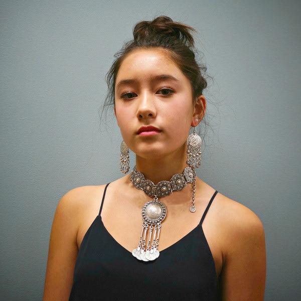 2019 vintage silver kedja vind stora blomma smörgås choker halsband kvinnor turkiska mynt långa ben kvast smycken halsband & hängsmycken