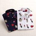 Novo Estilo Mulheres Blusas Camisas de Algodão Padrão Floral Manga Longa Mulheres Roupas Casuais Plus Size Turn-Down Collar Algodão blusas