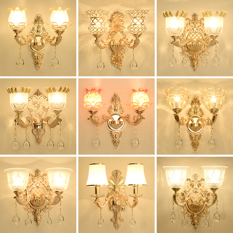 crystal wall lamp double bedroom bedside living room background wall lamp simple European Hotel Villa decorative lamp|Wall Lamps| |  - title=