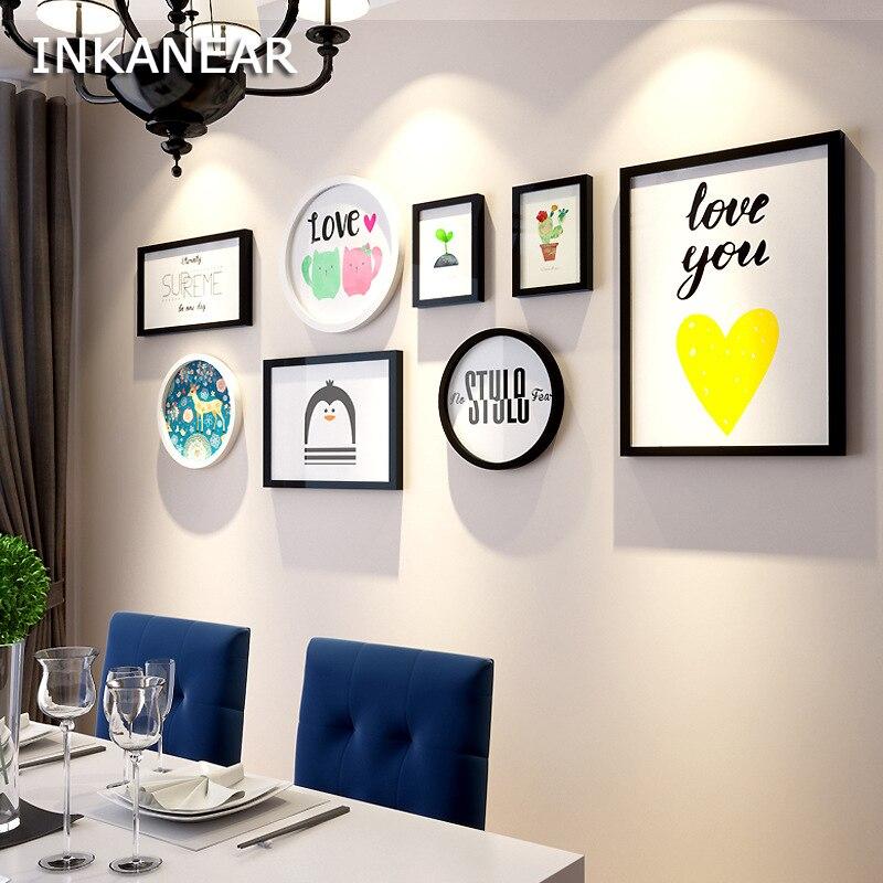 Mode grande taille avec amour peinture cadre Photo ensemble moderne décor à la maison en bois décoration murale famille cadre Photo mur