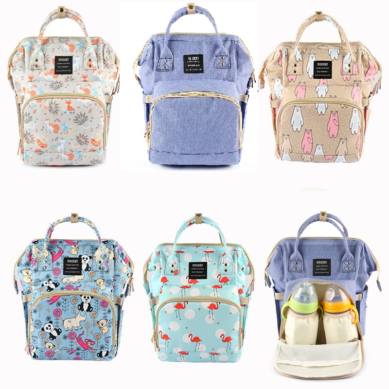 Unicorn Mummy Bags Maternity Nappy Backpack Nursing Bag For Baby Care Floral Print Large Capacity Travel Hanging Diaper Bag
