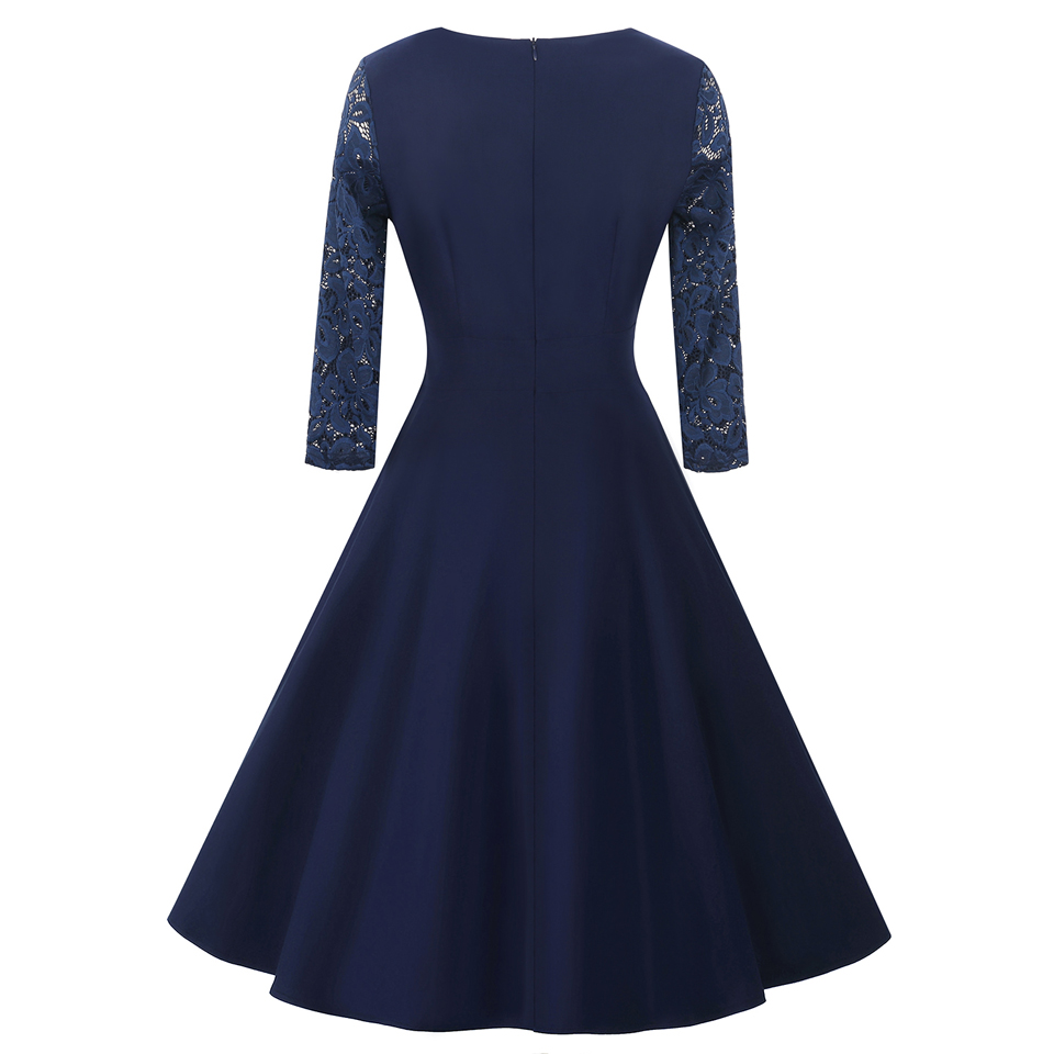 Oxiuly elegant navy blue dresses bridesmaid mother of bride see oxiuly elegant navy blue dresses bridesmaid mother of bride see through lace sleeve work office a line dress vestidos in dresses from womens clothing ombrellifo Gallery