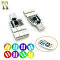 1set T10 12smd Car Styling RGB remote control Interior strobe lights Car Atmosphere Lights decoration bulbs t10 multiple colour