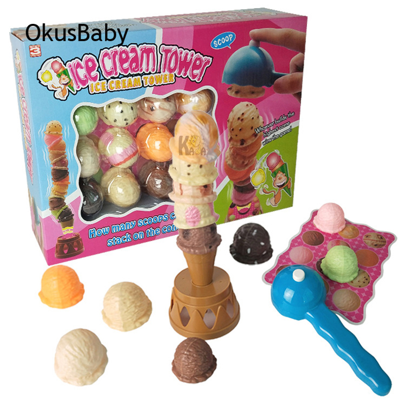 Children Desk Game Toys Ice Cream Tower Kids Educational Balance Toys Model Family Board Games Gift Set