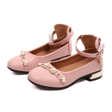 2019New Childrens Girls Leather Shoes for Kids Rhinestone Princess For Party Wedding Big Dress black