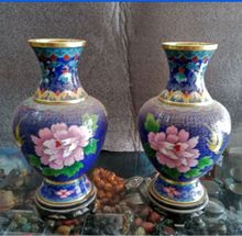 20 cm */ Collecting Chinese cloisonne carved with phnom penh, a pair of vases.