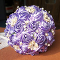 2017 Bridal Bridesmaid Wedding Bouquet Cheap New Luxury Crystal Purple Handmade Artificial Rose Flower Bridal Bouquets