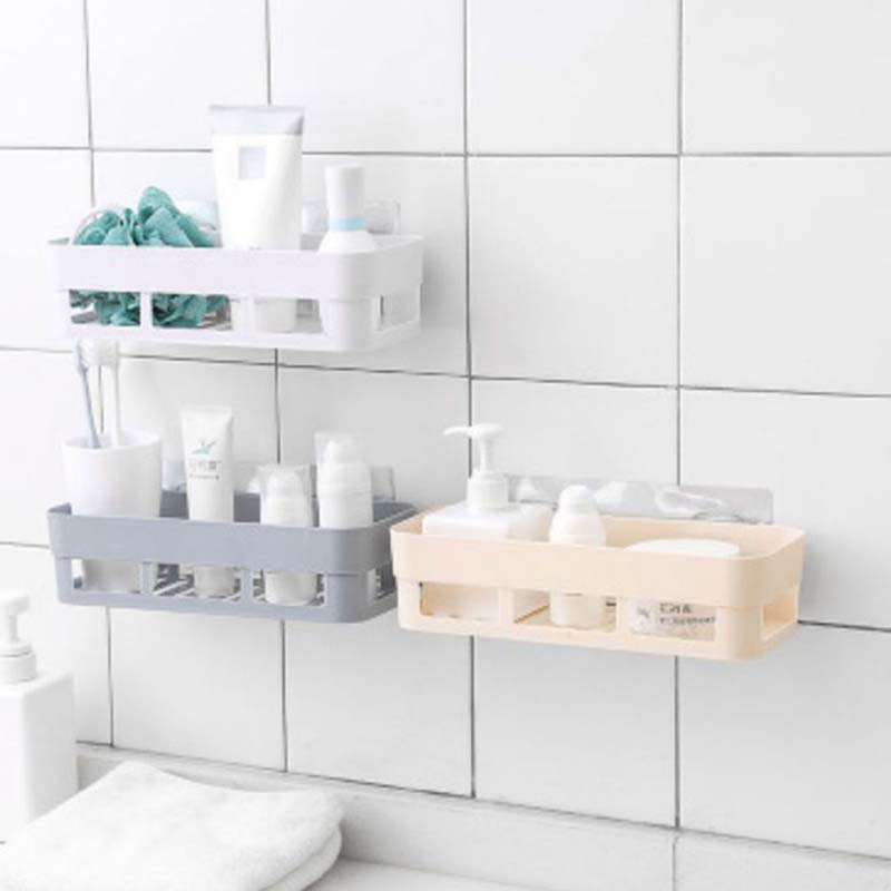 Punch-free Wall Hanging Bathroom Shelf Adhesive Storage Rack Corner Shower Shelf Kitchen Home Decoration Bathroom Accessories