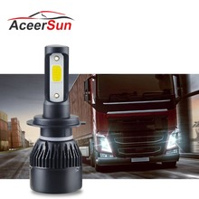 1PCS LED Fog Llight 4300K 6500K LED H7 COB 72W 8000LM 12V 24V H1 H8 H11 9005 9006 HB3 HB4 For truck Scania Volvo German Renault