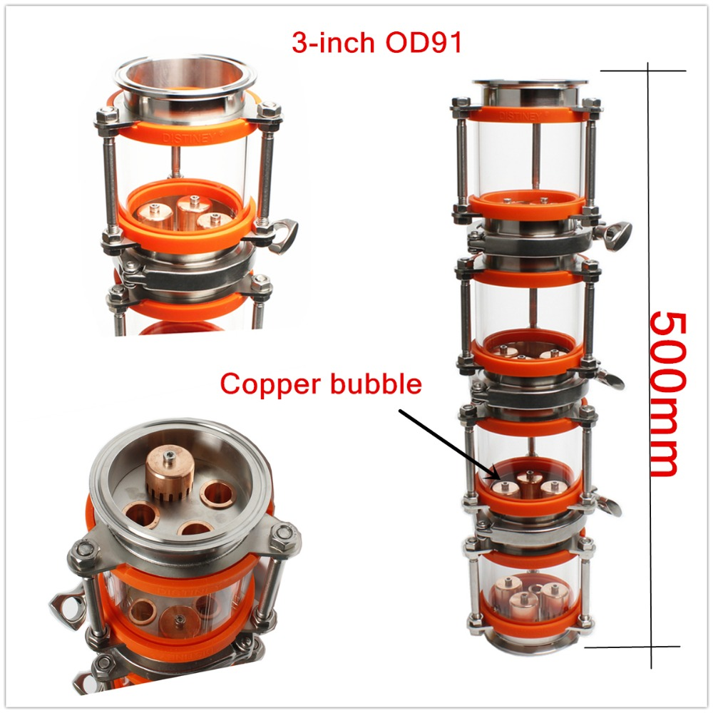 2018 NEW copper bubble Distillation column with 4 sections for 3 distiller Glass column Flute Distiller