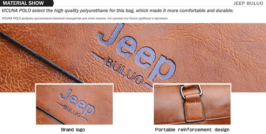 HTB1b0UTeBiE3KVjSZFMq6zQhVXaG Famous Designer JEEP BULUO Brands Men Business Briefcase PU Leather Shoulder Bags For 13 Inch Laptop Bag big Travel Handbag 6013