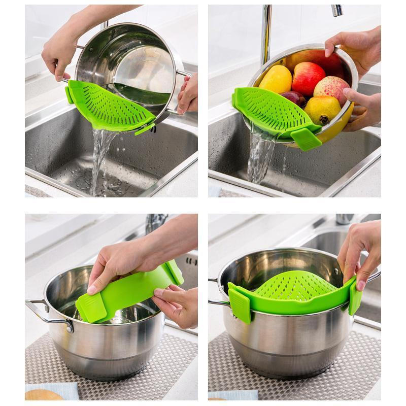 Silicone Pot Strainer Clip-on di Pasta Drenante
