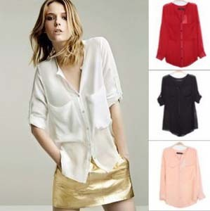 2013 Europe Style 6 Colors Big Pocket Perspective Chiffon Shirts For Women Fashion Ladies Blouse Summer Tops