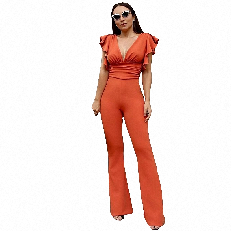 Ruffle Deep V Neck Sexy Jumpsuit Women Romper Knitted Skinny Summer Elegant Jumpsuits Rompers Female Playsuit Overalls