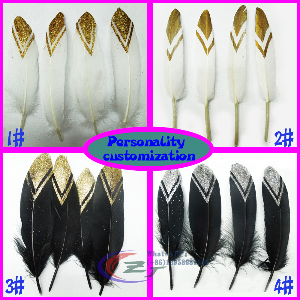 Wholesale 100pcs GOLD/SILVER Tip Goose Feathers,Gold/Silver Stripe Painted Duck Feathers For Craft/Millinery/Jewellry