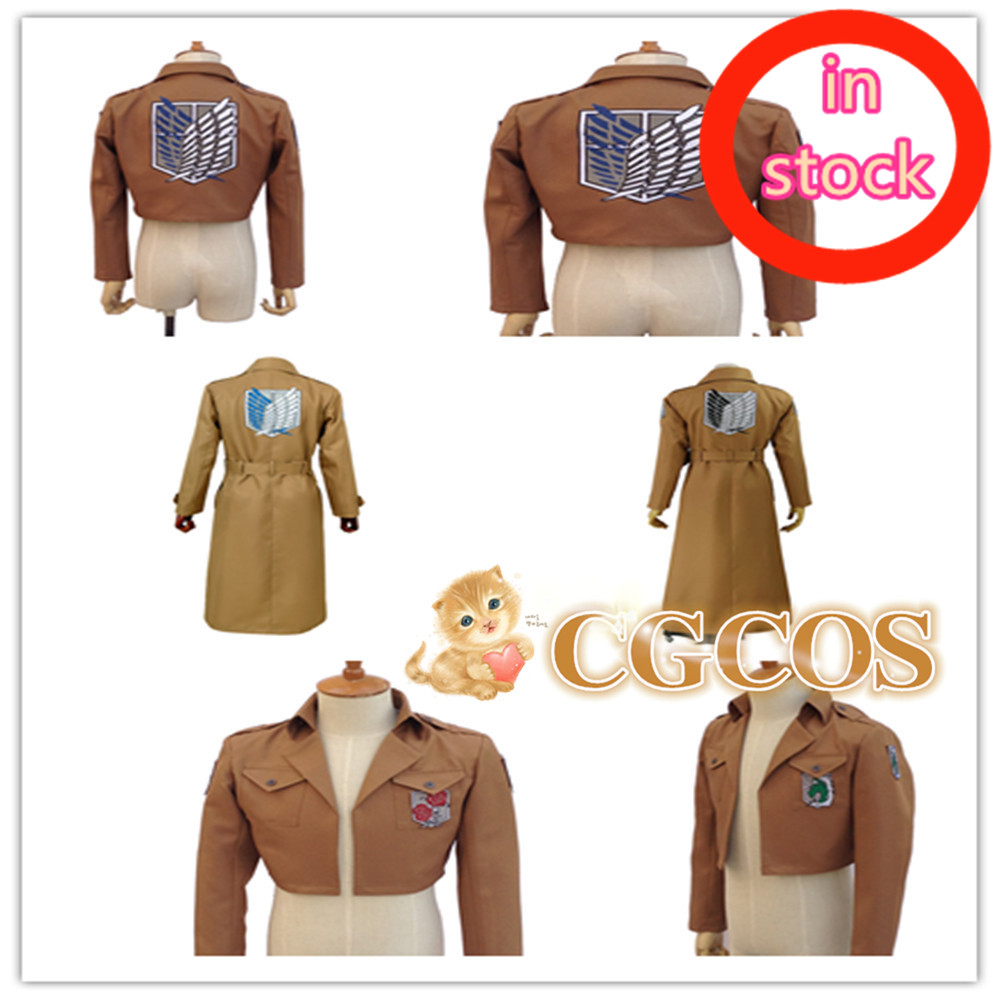 CGCOS Attack on Titan Jacket Shingeki no Kyojin Coat Cosplay Costume Recon/Trainning/Military Police Brigade/Stationed in Stock