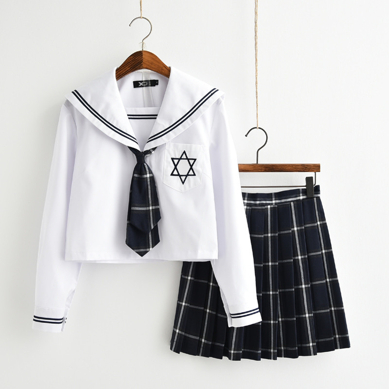 UPHYD Long Sleeve Anime School Uniform Novelty Japanese Student Uniforms Sets S-XL School Girls Stage Performance Sailor Suits