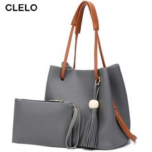 CLELO 2017 new women pu Simple single tassel shoulder and crossbody Composite Bags for ladies fashion style high quality