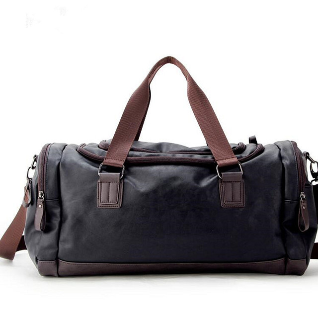d3cd937b3e PU Leather Men s Travel Bags Luggage Bags Men Fashion Duffel Bags Travel  Tote Large Weekend Bag