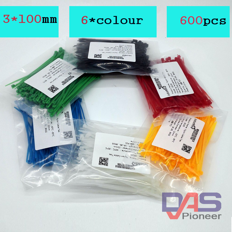 600Pcs/pack 3*100mm  width 2.5mm  Colorful Factory Standard Self-locking Plastic Nylon Cable Ties,Wire Zip Tie