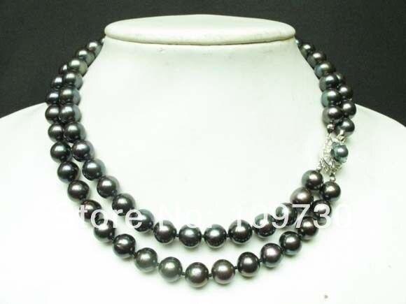 Bijoux 002468 collier 2 brins noir d'eau douce perle ronde perles fermoir en argent